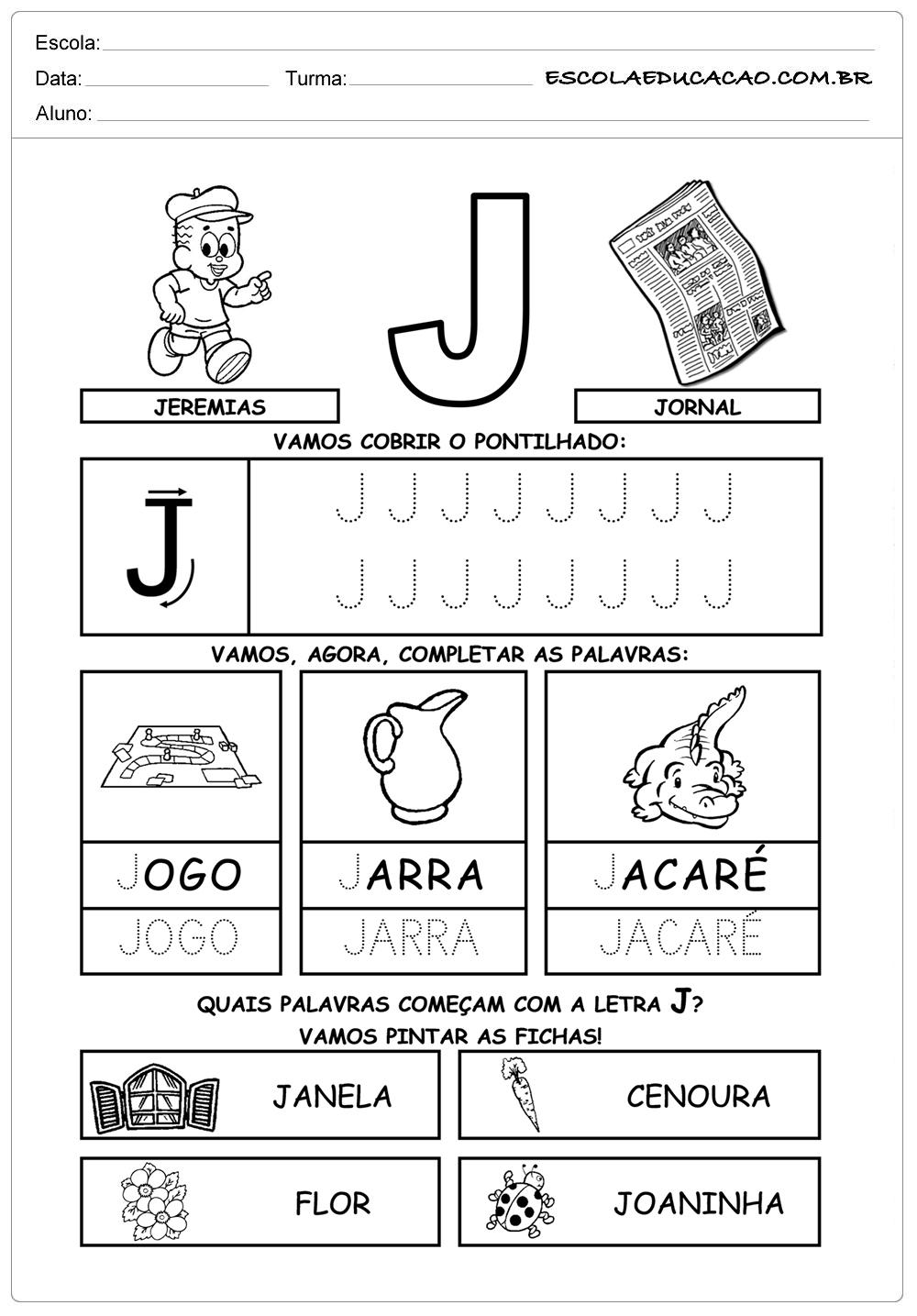Diversas atividades com a letra J