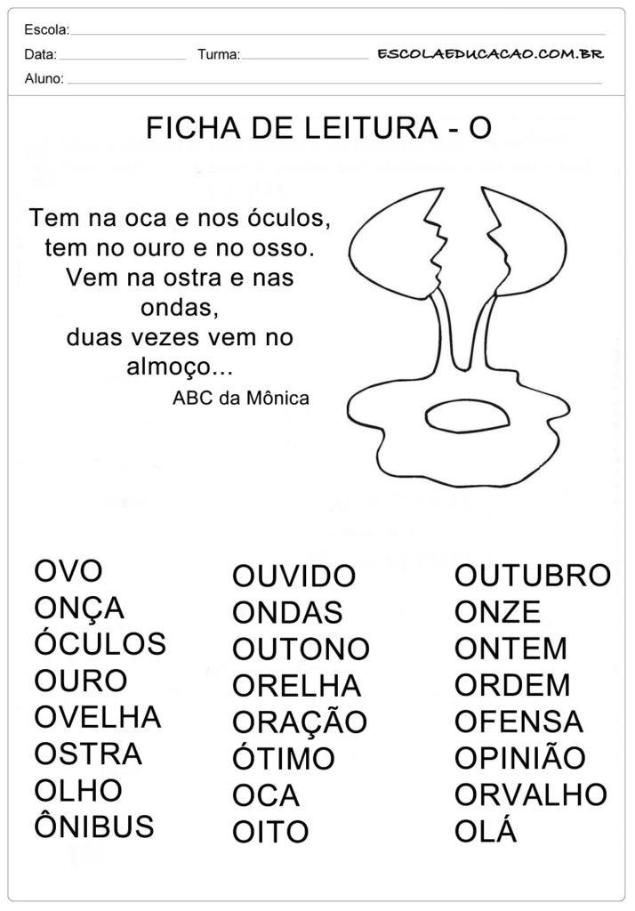Ficha de Leitura Letra O - Ovo