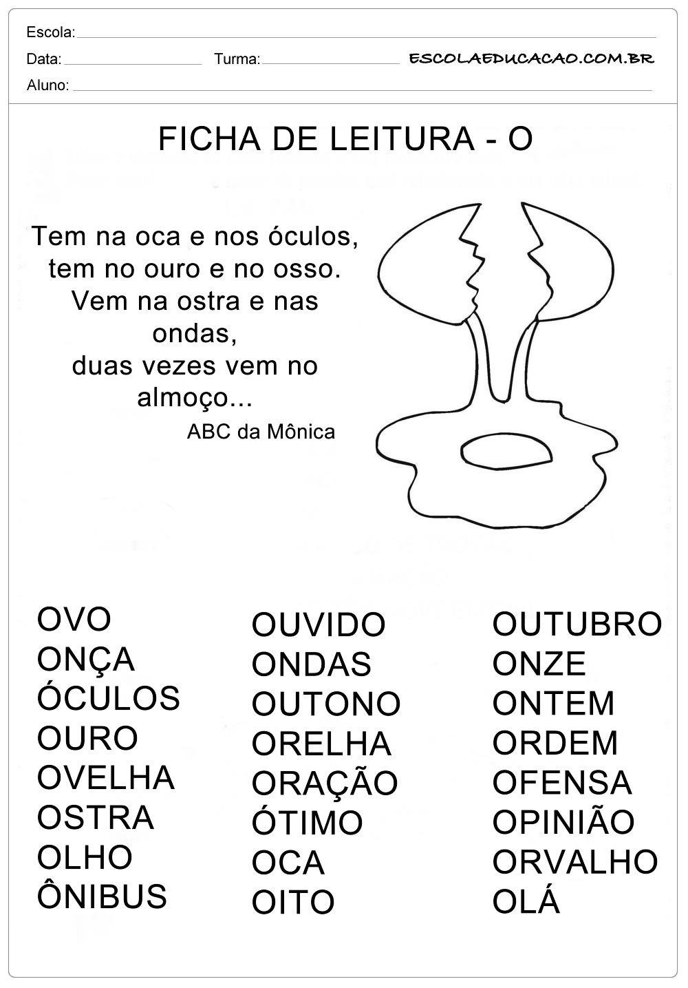 Ficha de Leitura Letra O – Ovo