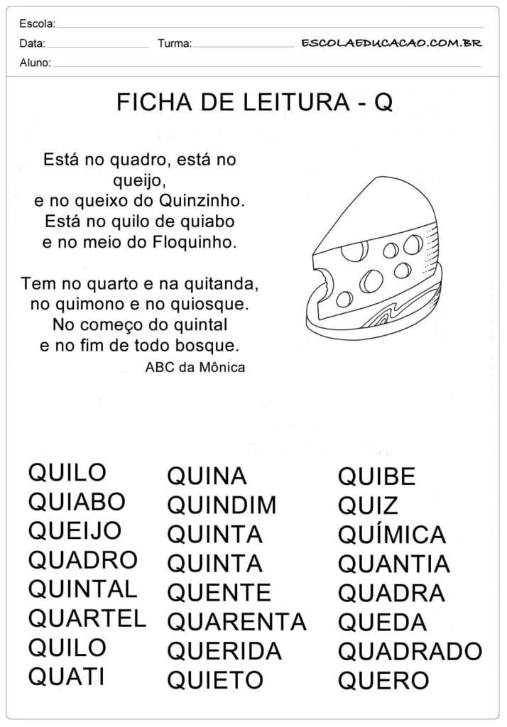 Ficha de Leitura Letra Q - Queijo