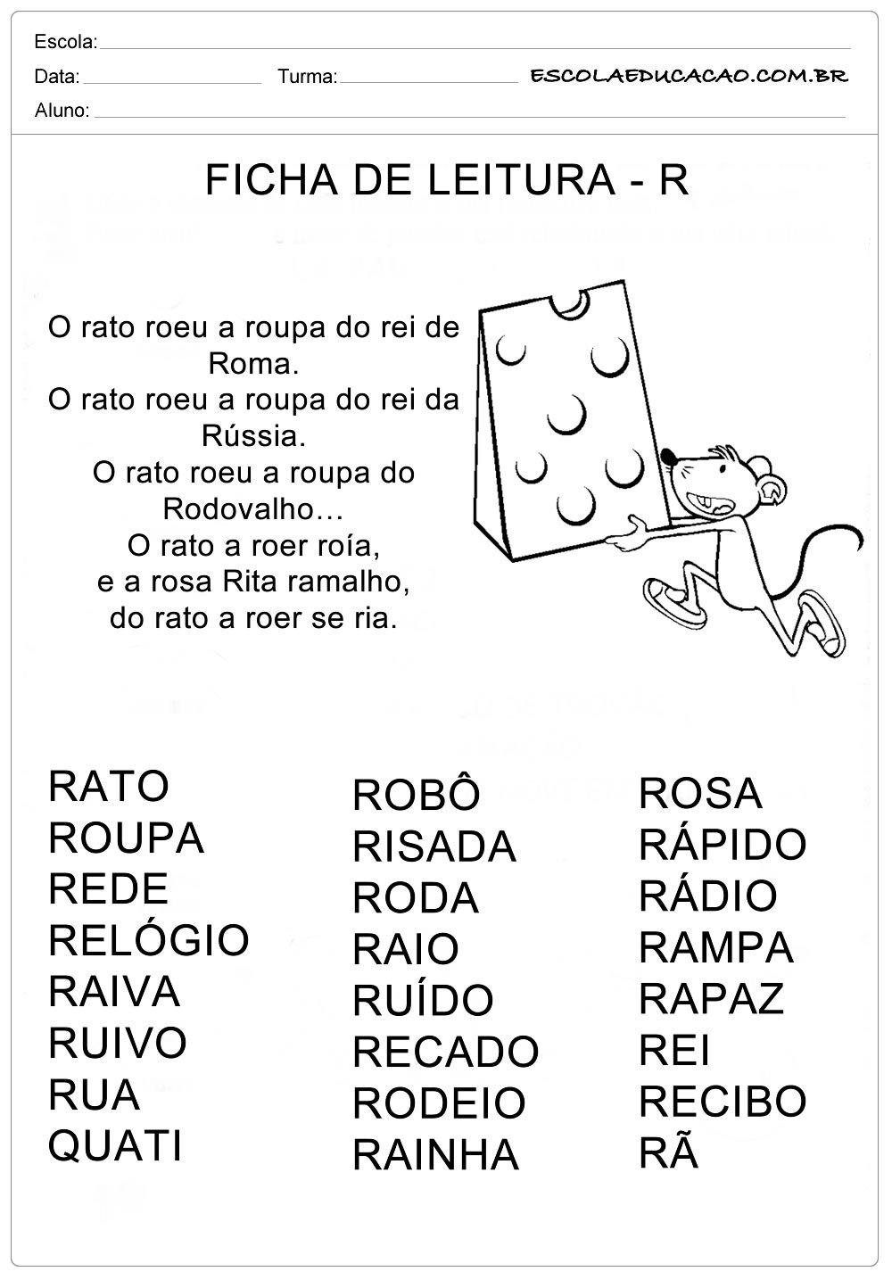 Ficha de Leitura Letra R – Rato