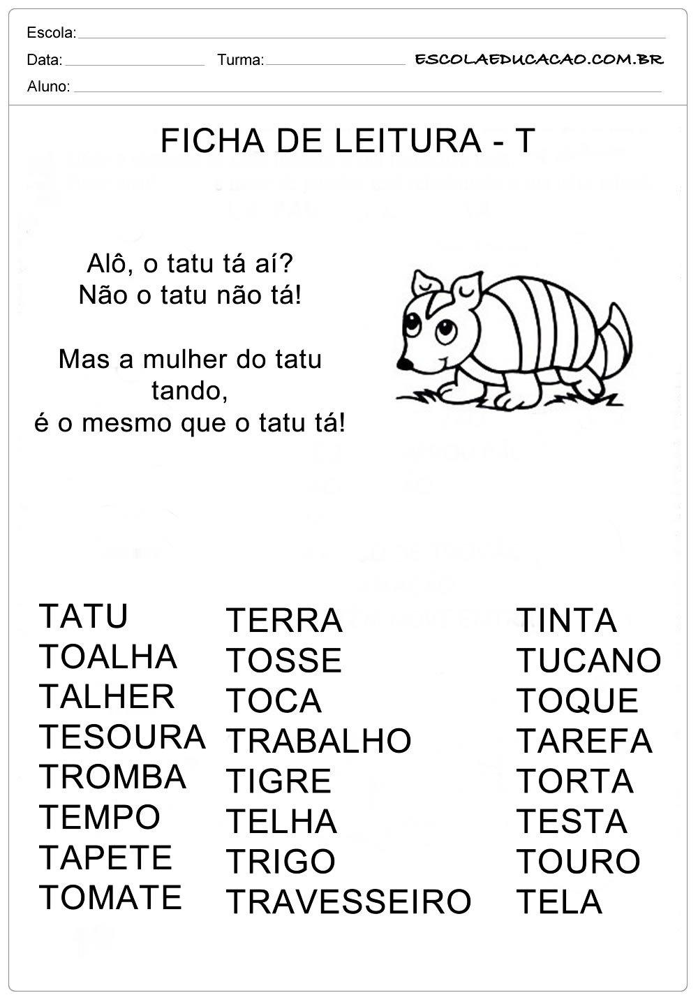 Ficha de Leitura Letra T – Tatu