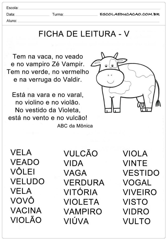 Ficha de Leitura Letra V - Vaca