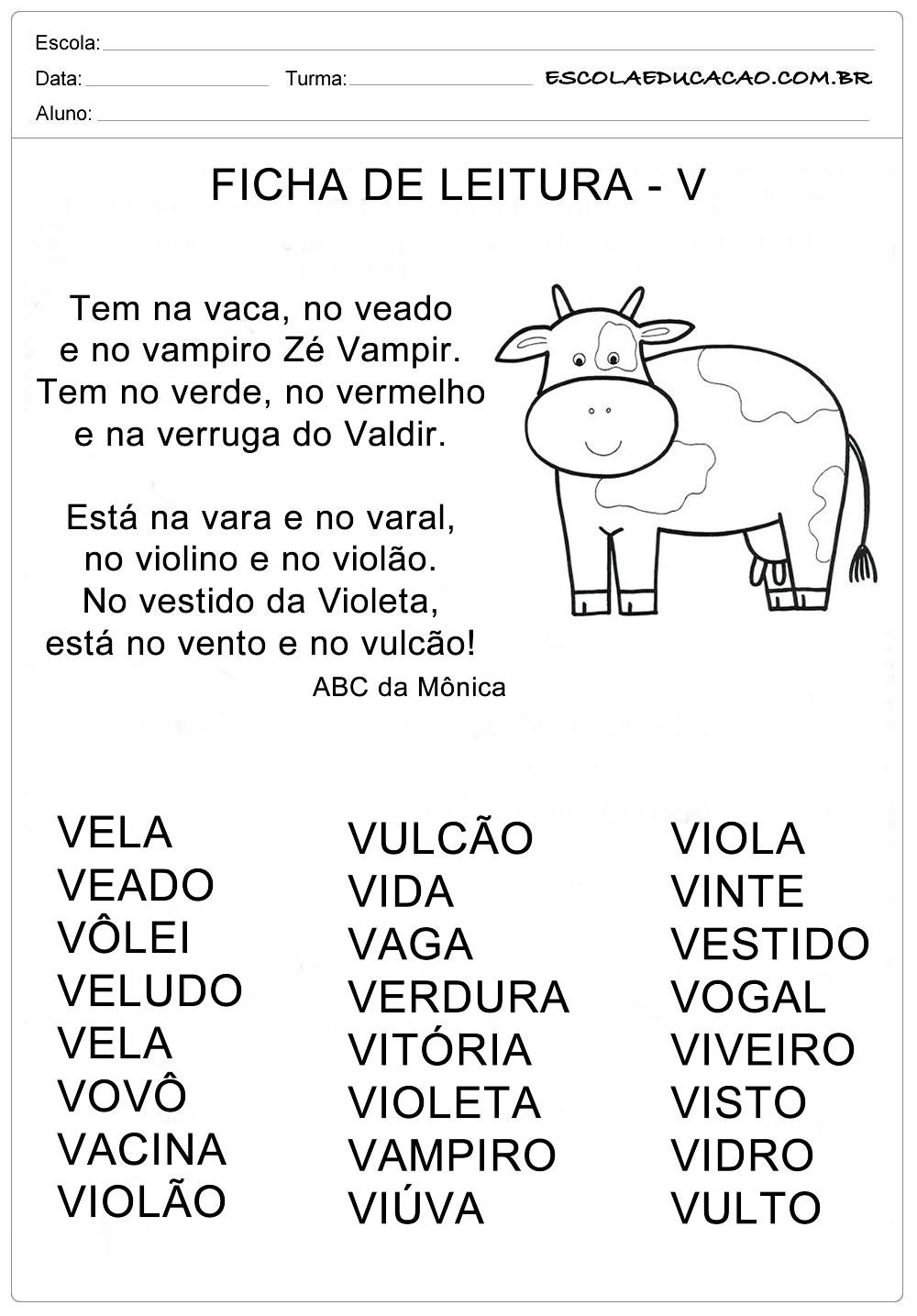 Ficha de Leitura Letra V – Vaca