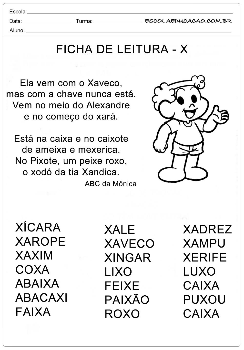 Ficha de Leitura Letra X – Xaveco