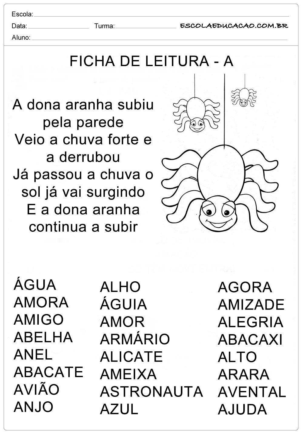 Ficha de Leitura Letra A – Aranha
