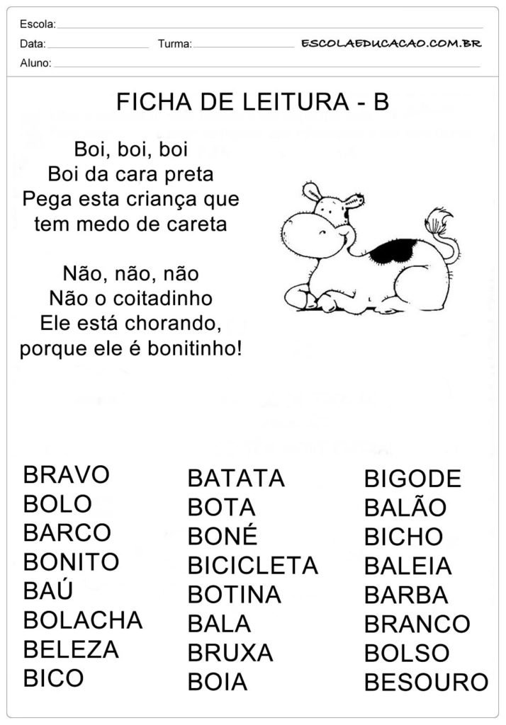 Ficha de Leitura Letra B - Boi