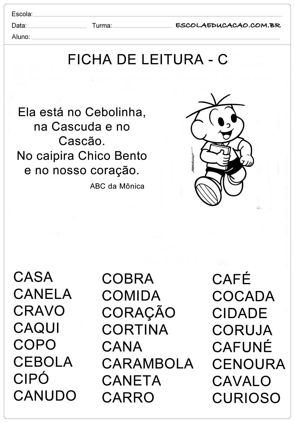 Ficha de Leitura Letra  C – Cebolinha