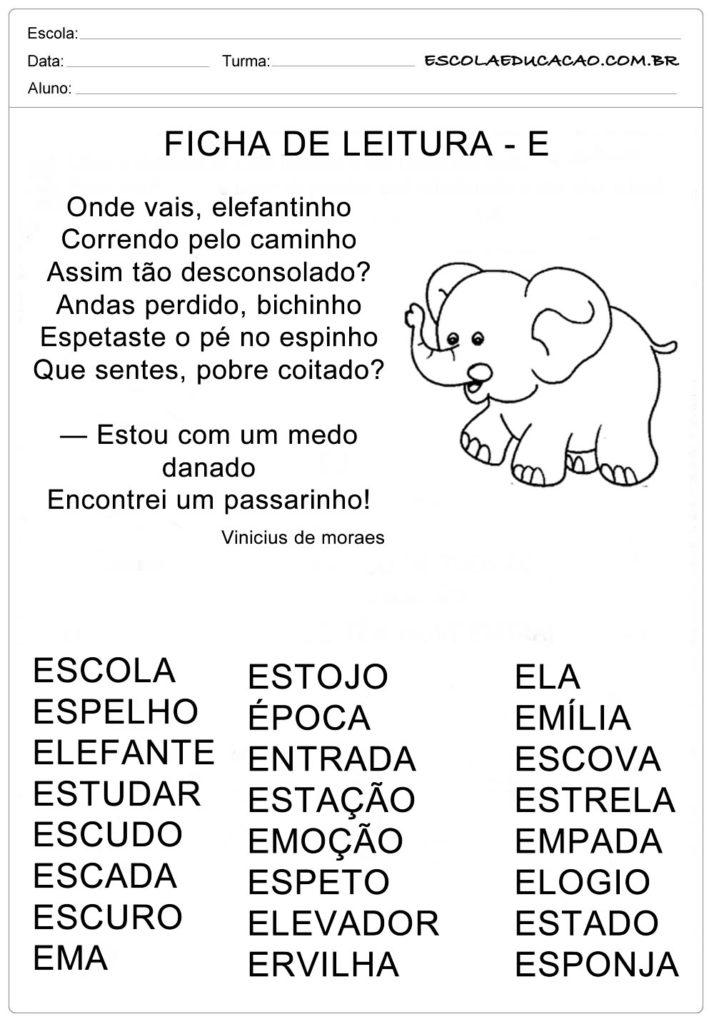 Ficha de Leitura Letra E - Elefante