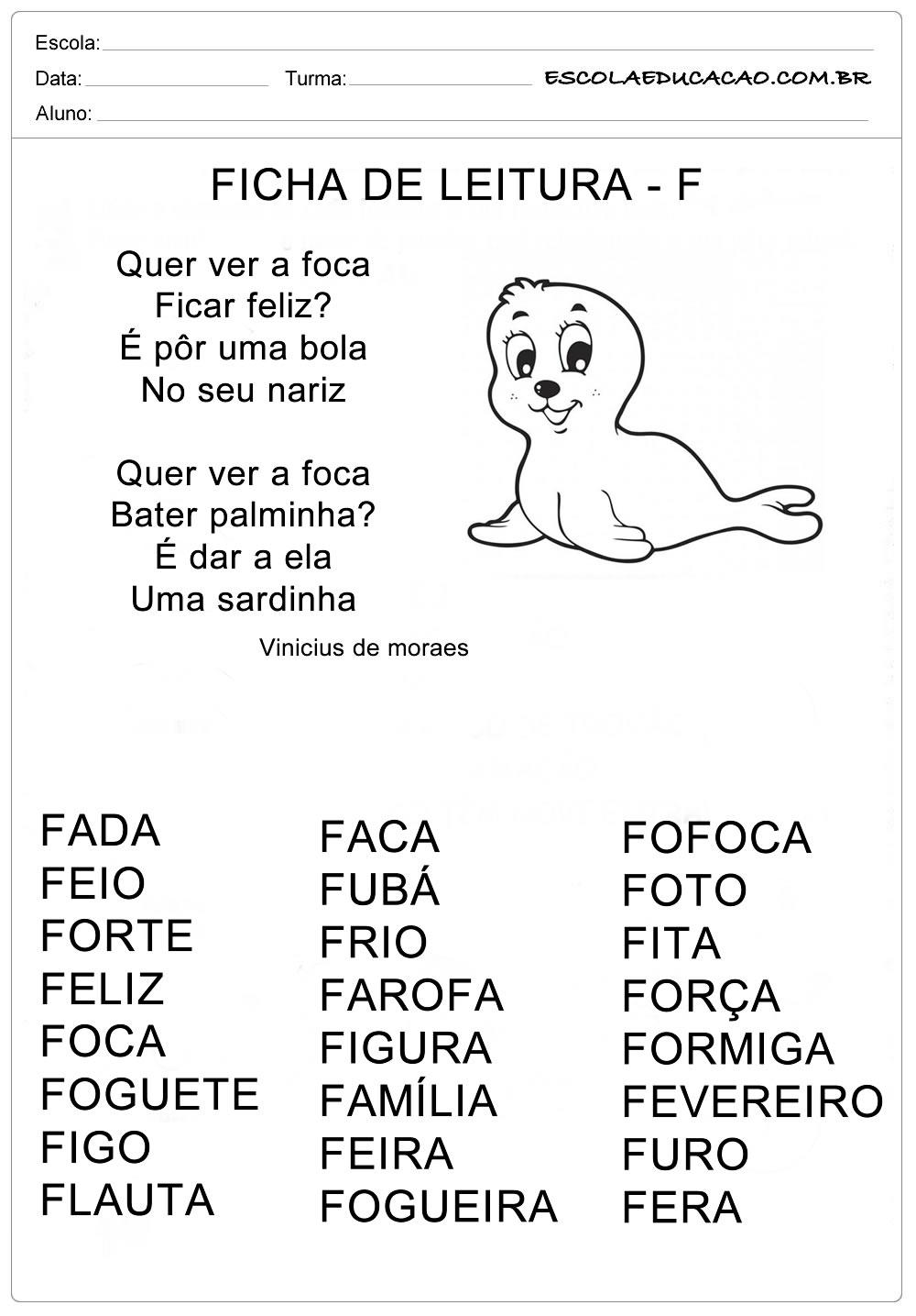 Ficha de Leitura Letra  F – Foca