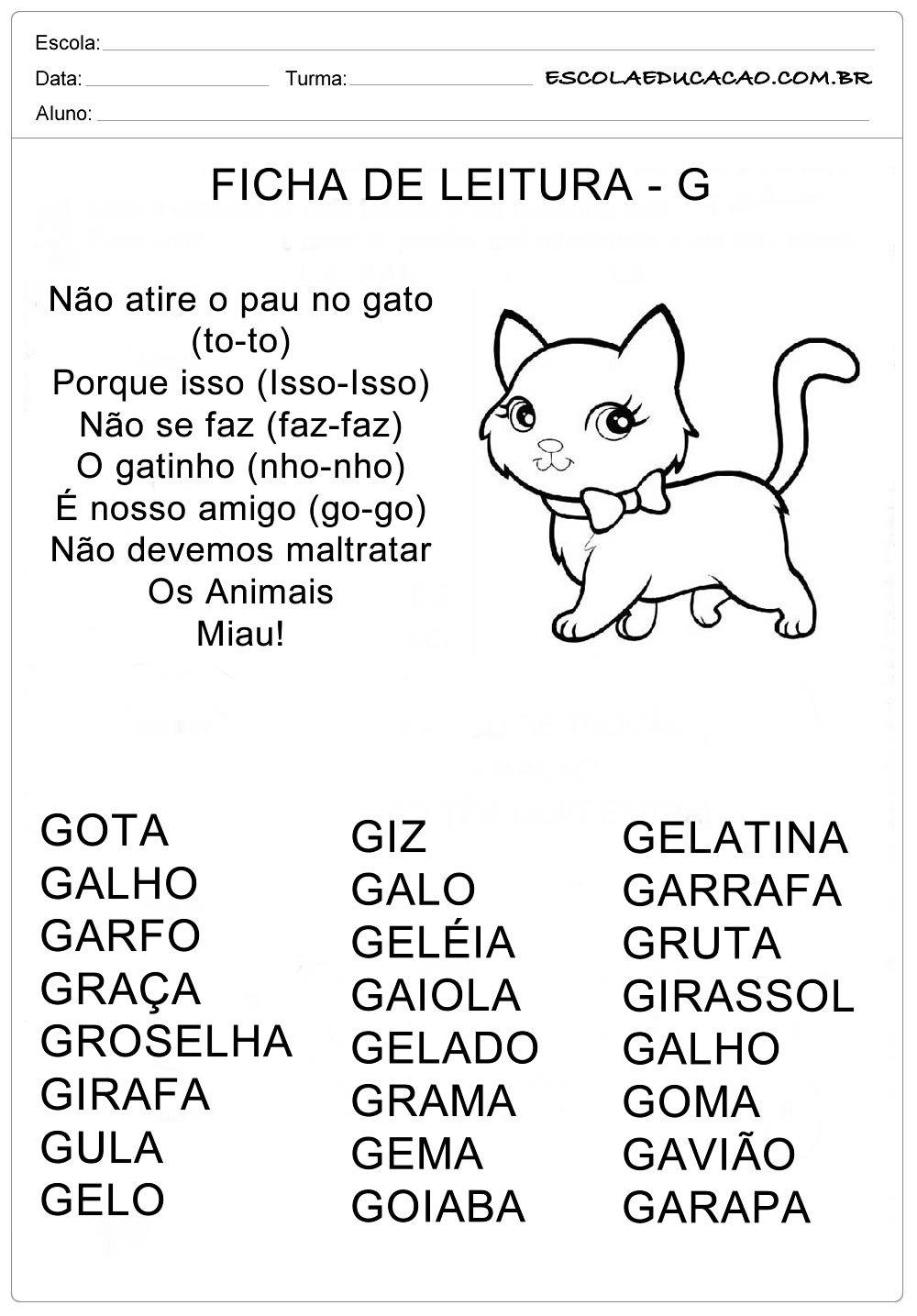 Ficha de Leitura Letra  G – Gato