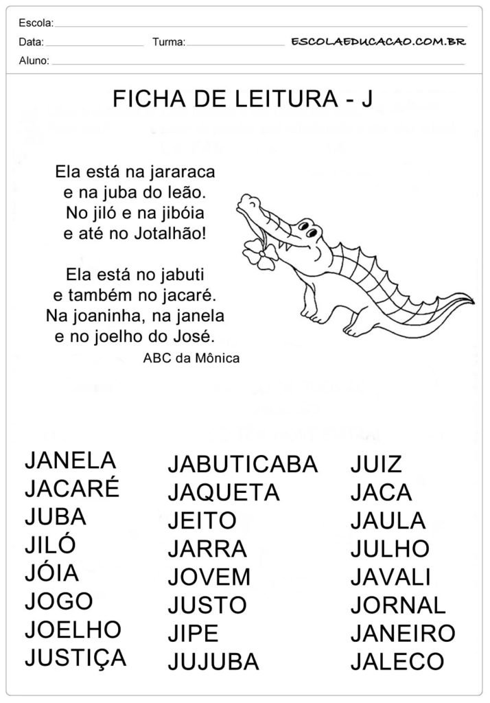Ficha de Leitura Letra J - Jacaré