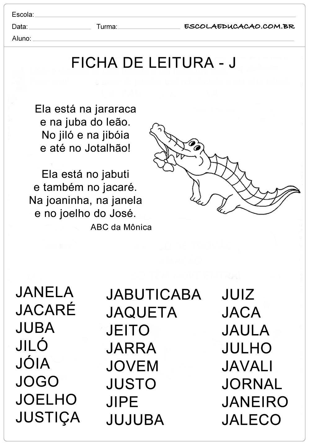 Ficha de Leitura Letra  J – Jacaré