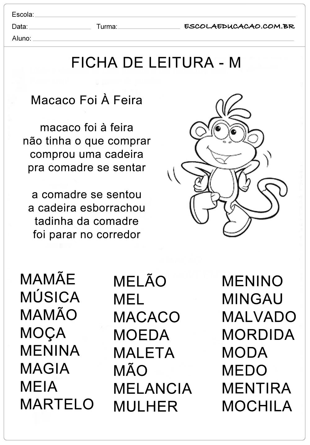 Ficha de Leitura Letra  M – Macaco