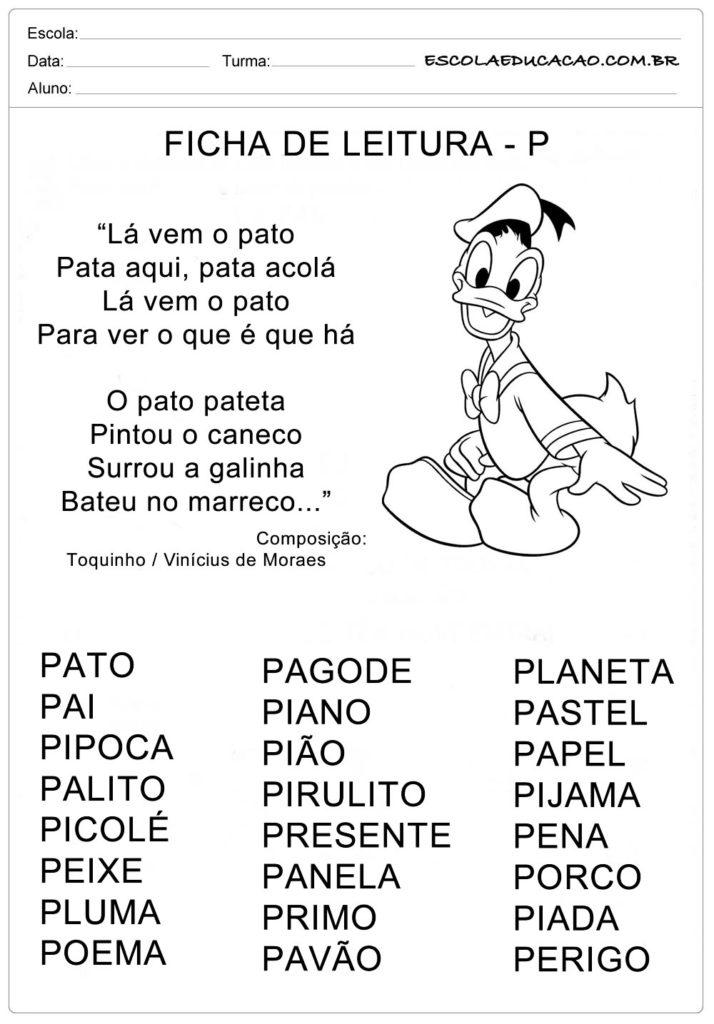 Ficha de Leitura Letra P - Pato