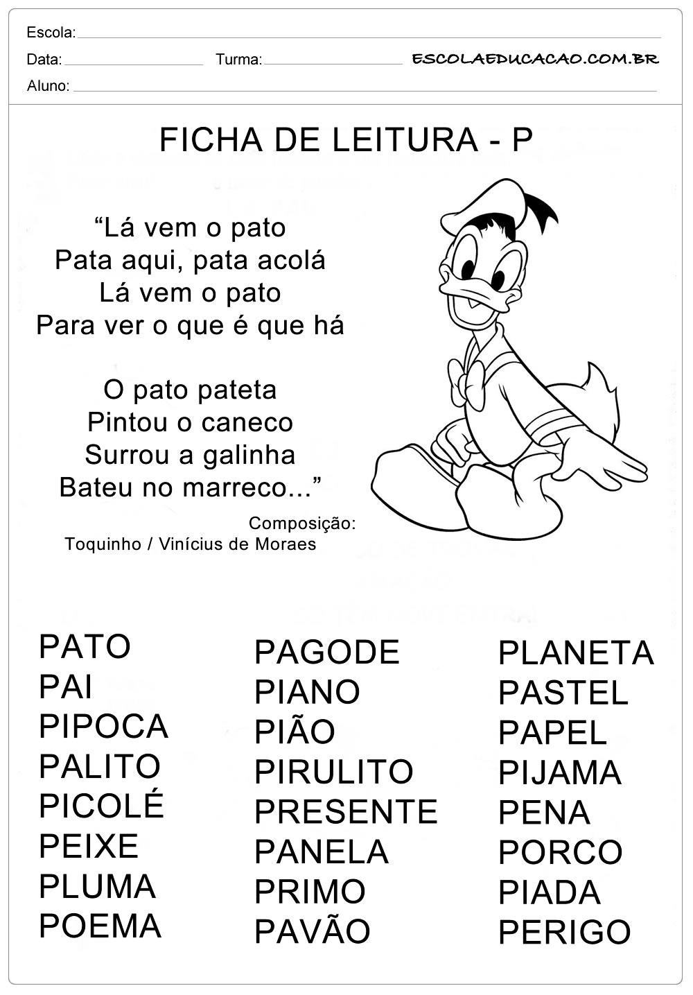Ficha de Leitura Letra P – Pato
