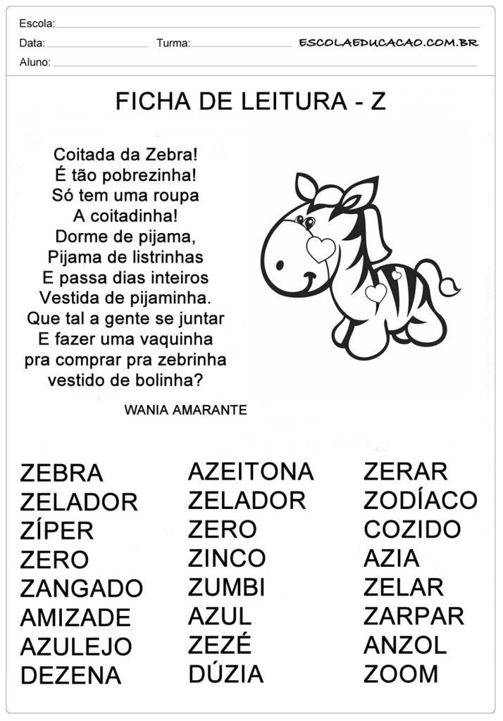 Ficha de Leitura Letra Z - Zebra