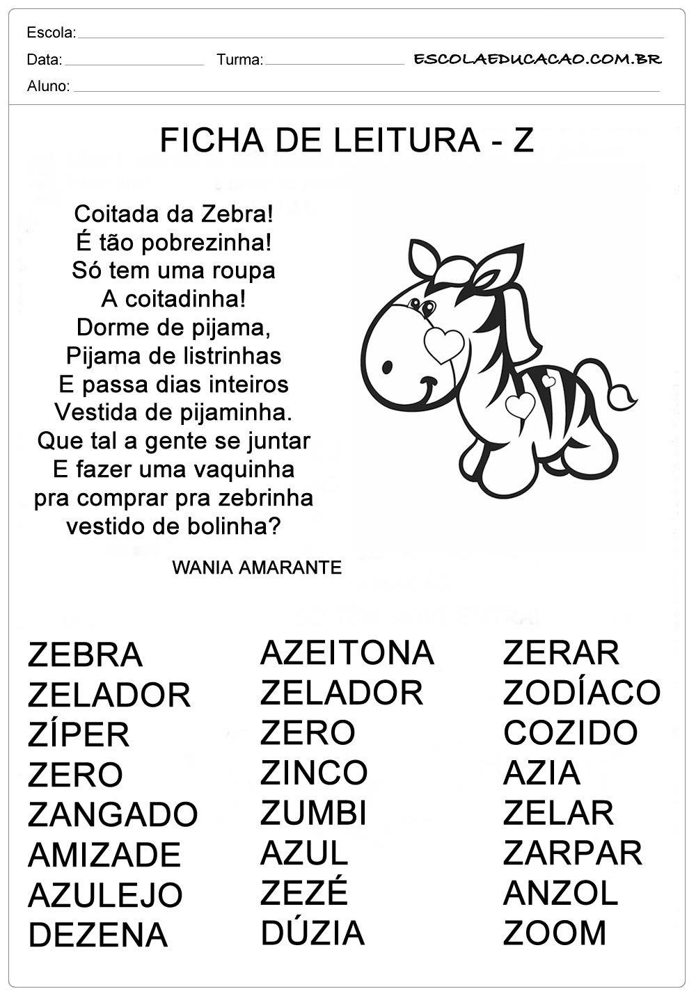 Ficha de Leitura Letra Z – Zebra