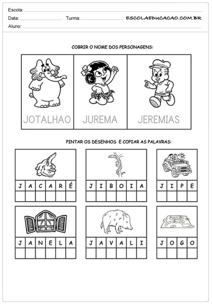 Nome dos personagens com a letra J
