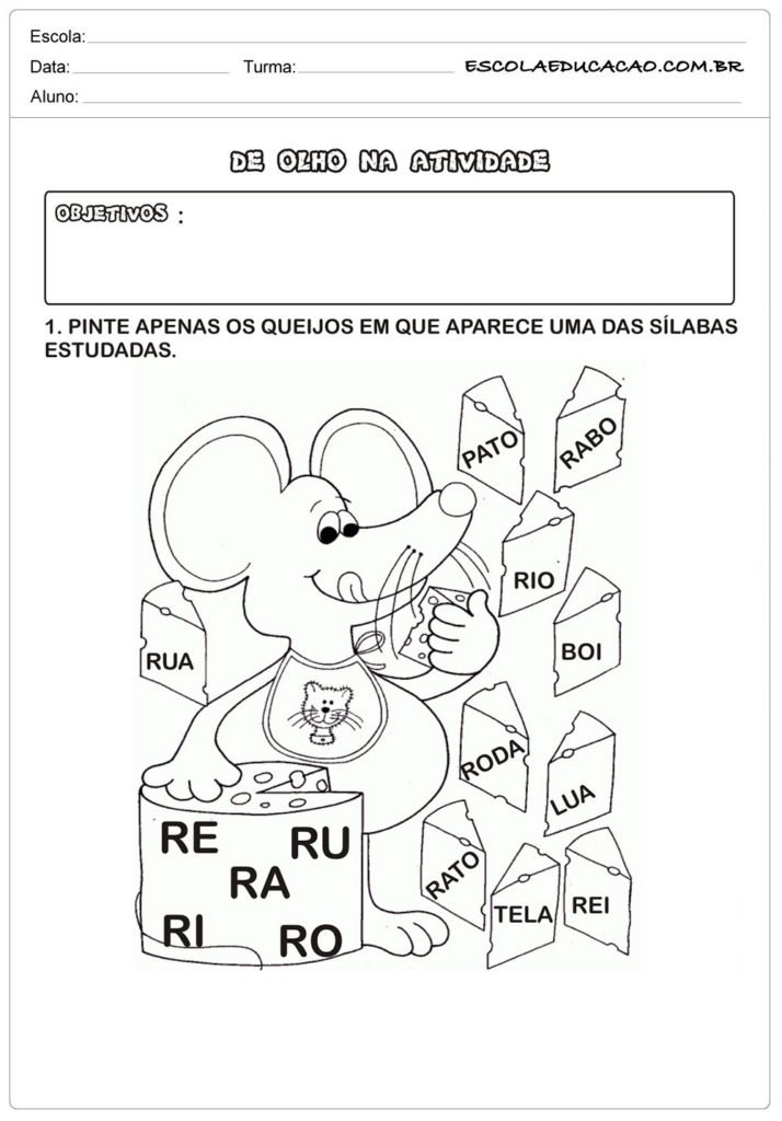 Pinte as sílabas com letra R