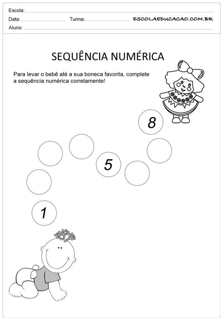 Atividade Sequência Numérica - Atividade para Educação Infantil