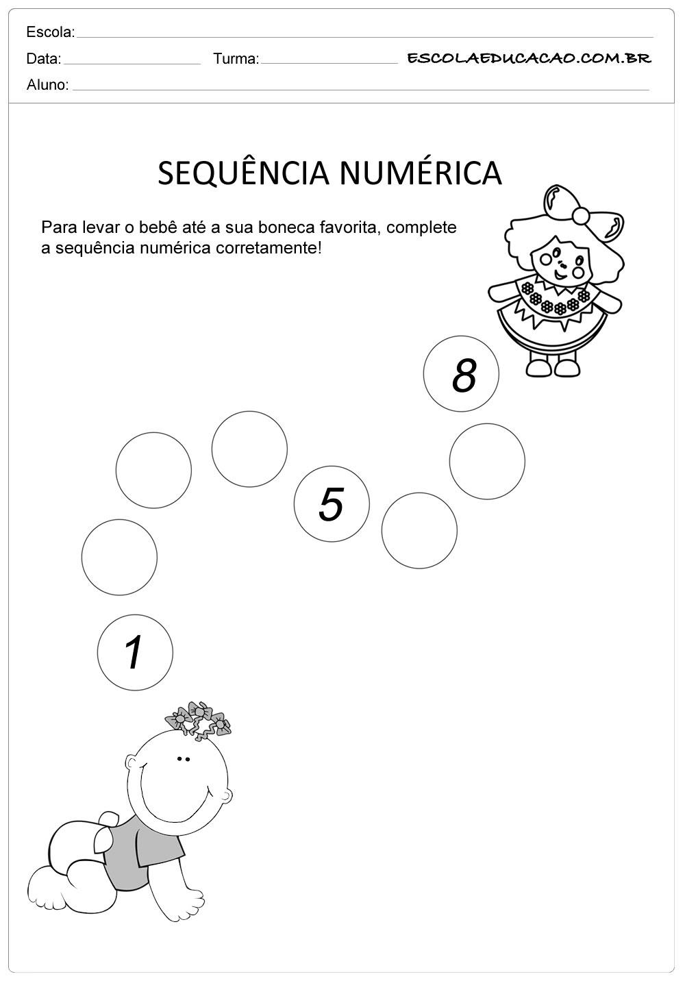 Atividade Sequência Numérica – Atividade para Educação Infantil