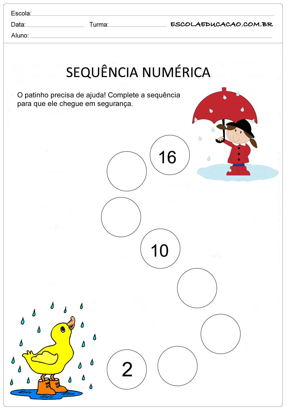 Atividade Sequência Numérica – Sequência de números pares