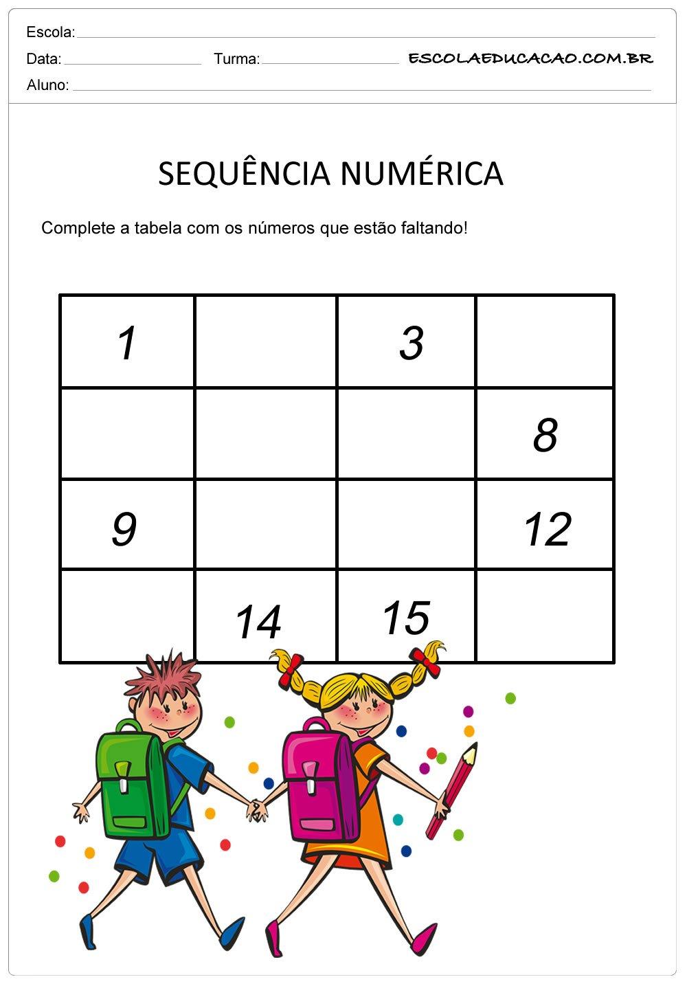 Atividade Sequência Numérica – Tabela para Completar