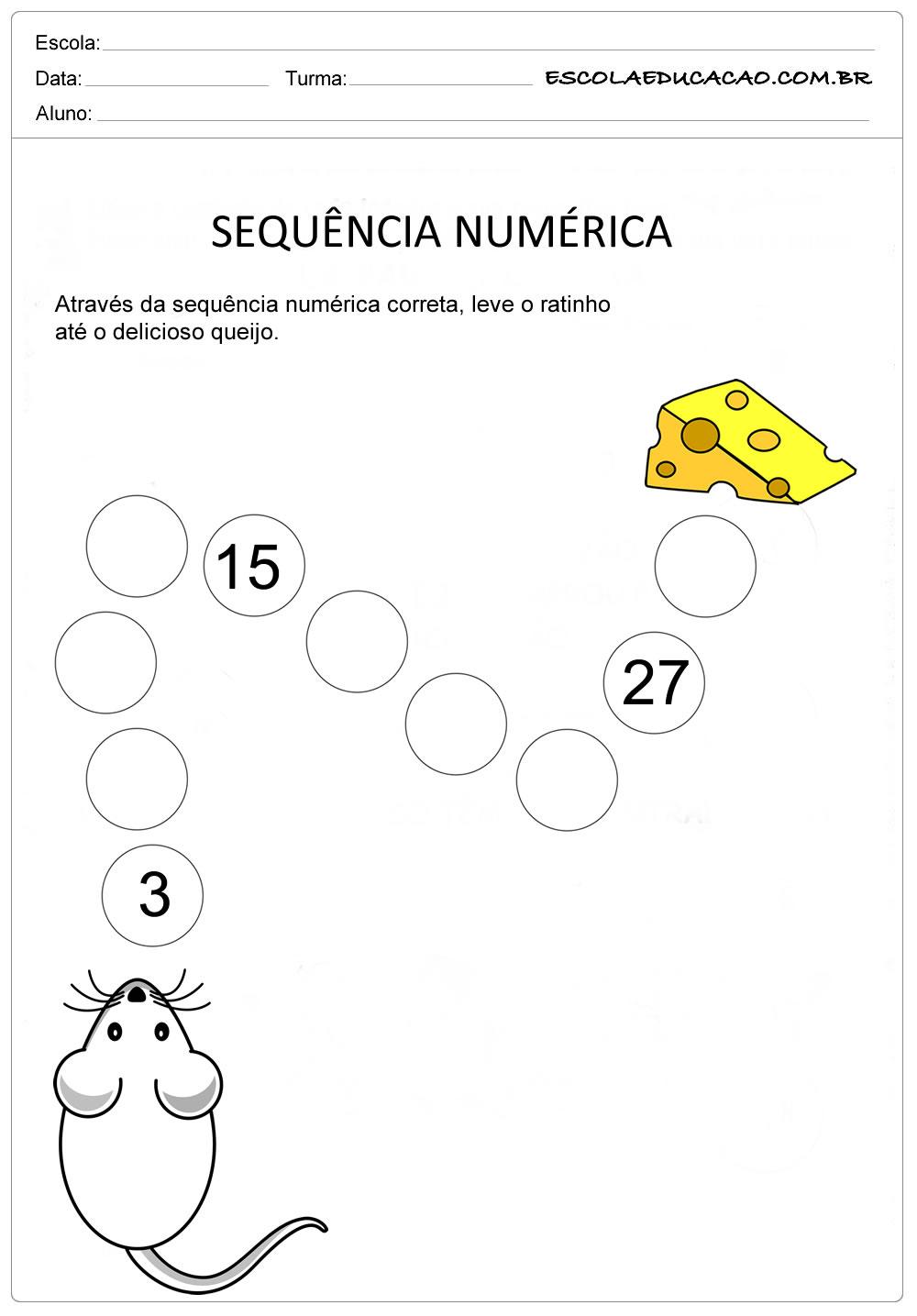 Atividade Sequência Numérica – Sequência de 3 em 3