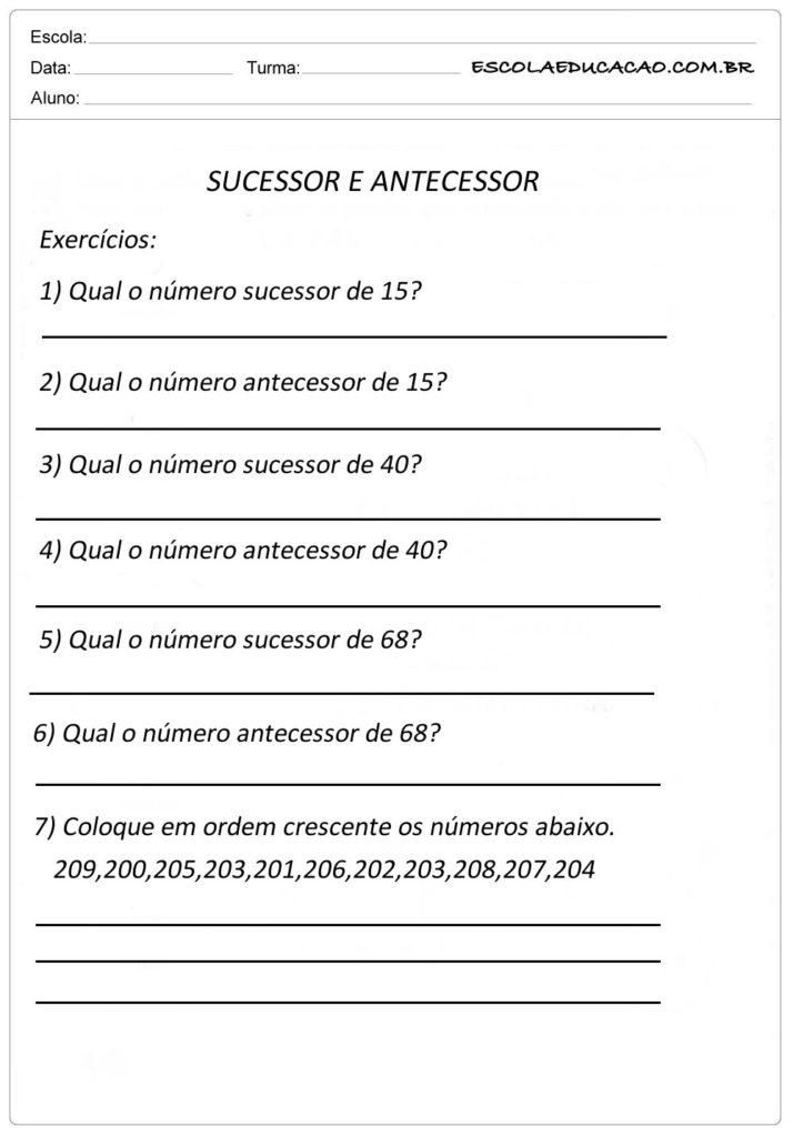 Atividade Sequência Numérica - Sucessor e Antecessor