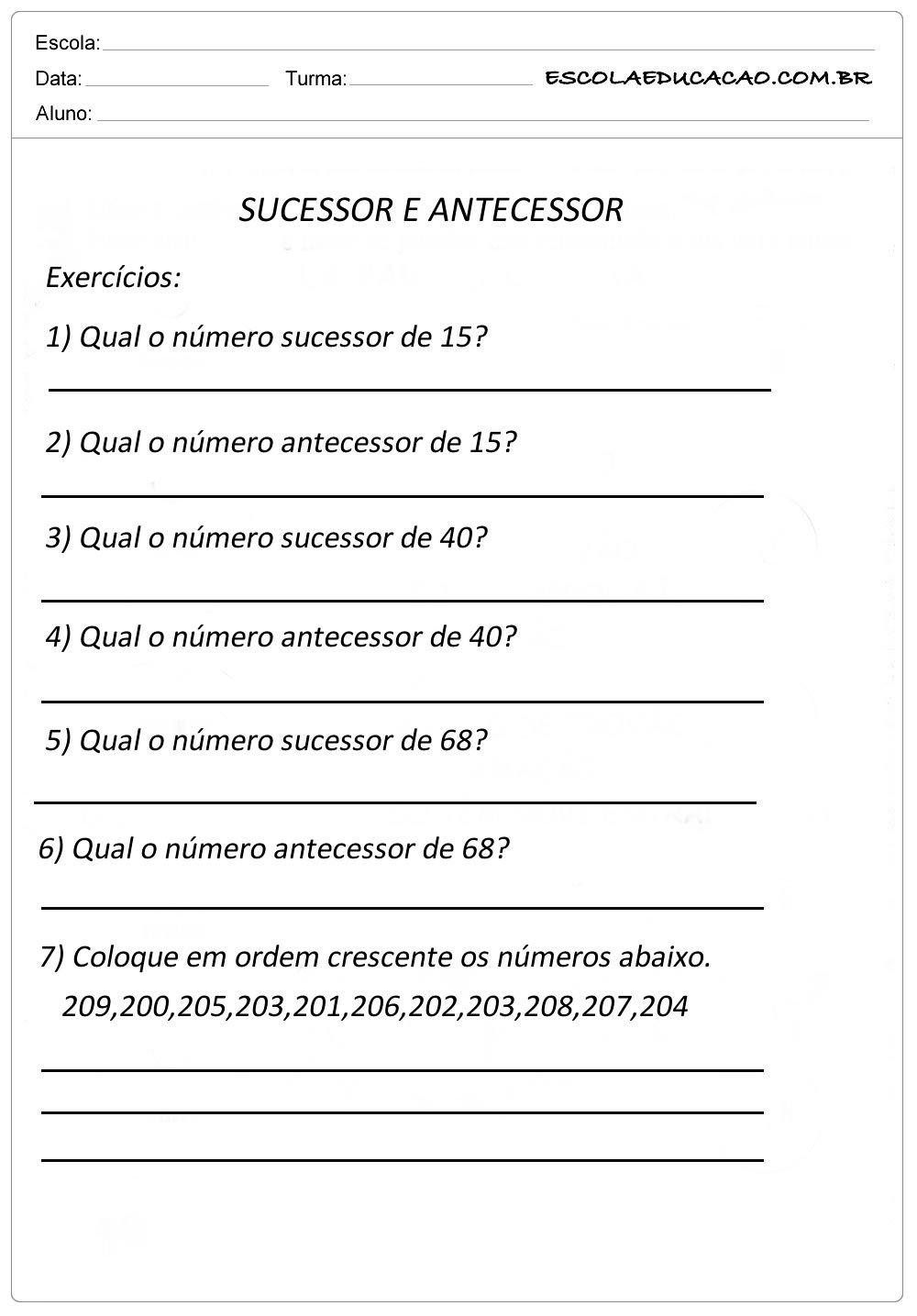 Atividade Sequência Numérica – Sucessor e Antecessor