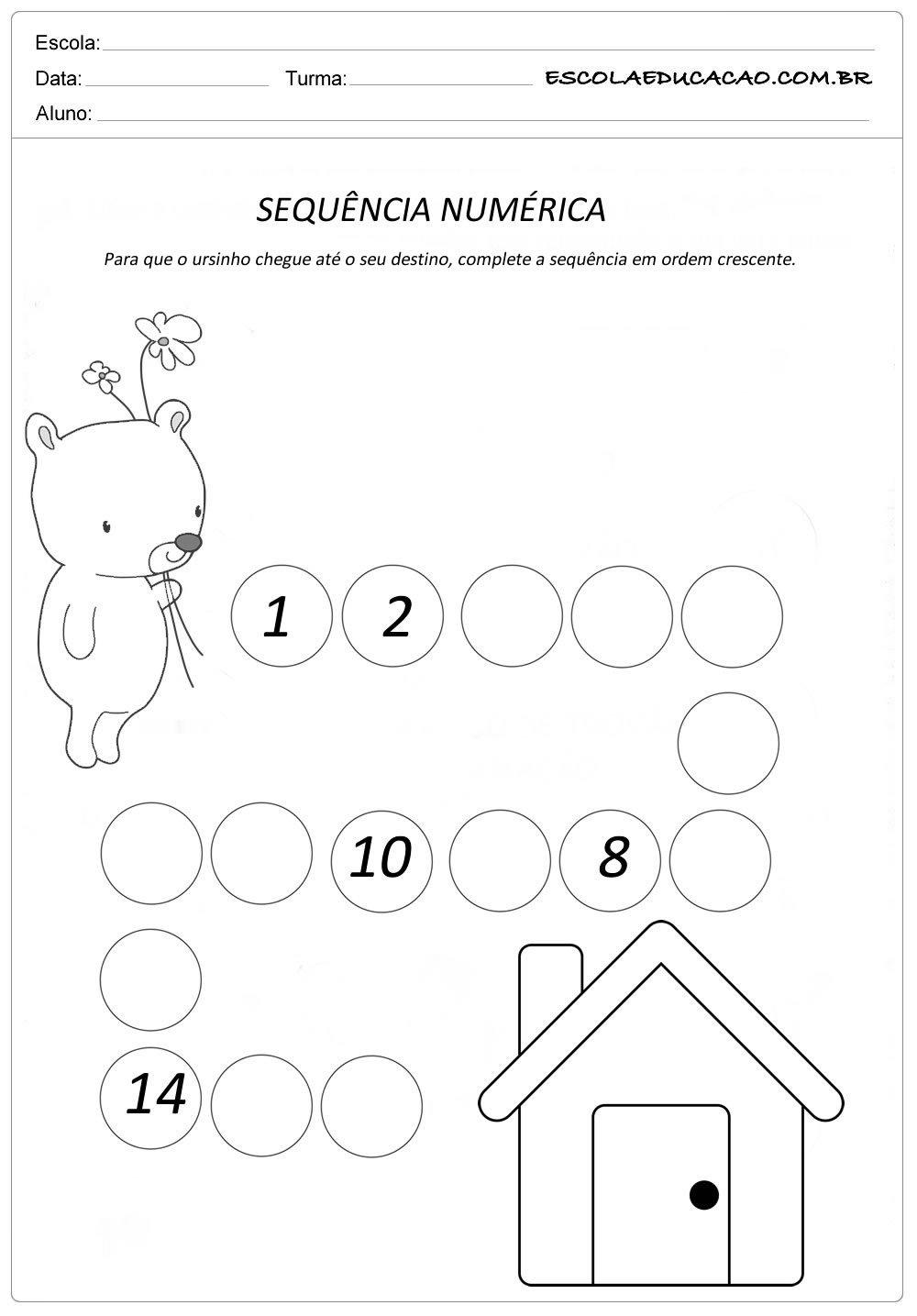 Atividade Sequência Numérica – Leve o ursinho até a casinha