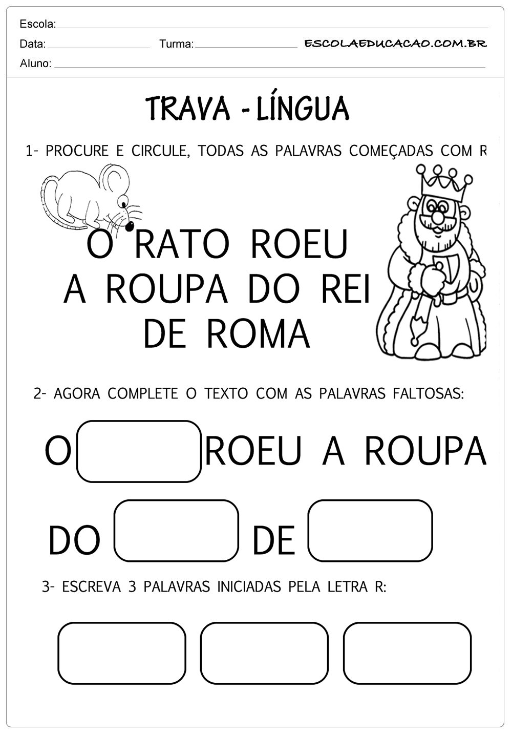 Trava língua letra R
