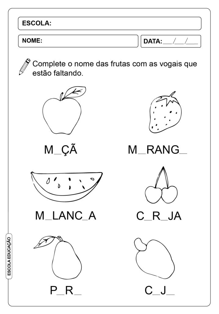 Atividade de vogais - Atividade de Letramento de Vogais