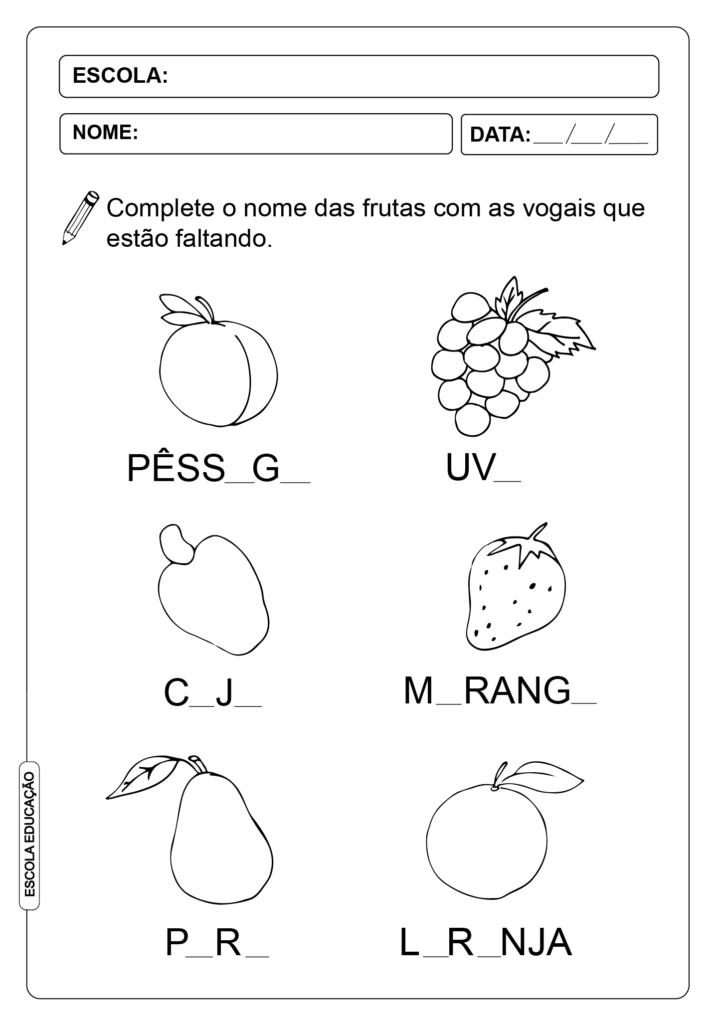 Atividade de vogais - Atividades para Alfabetização