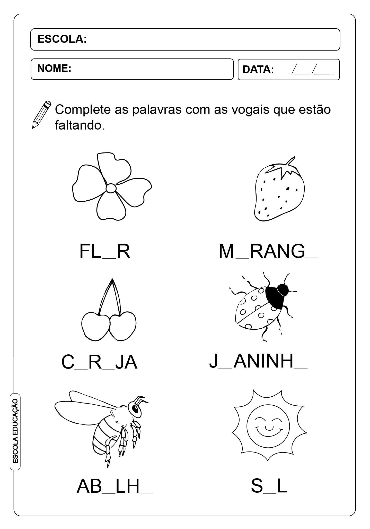 Atividade de vogais – Atividades para Completar a Palavra