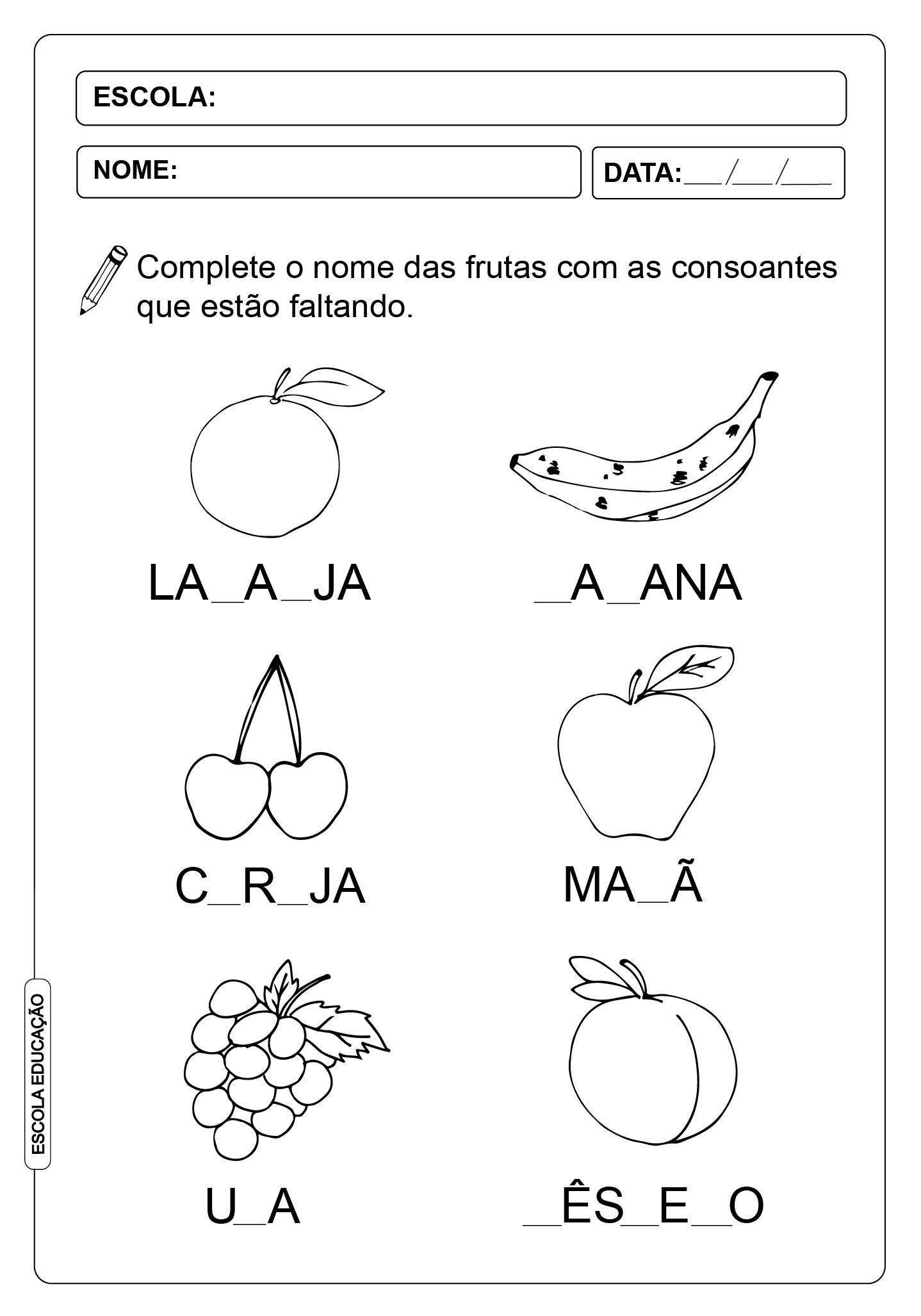 ATIVIDADES DE COMPLETAR PALAVRAS 07 – CONSOANTES