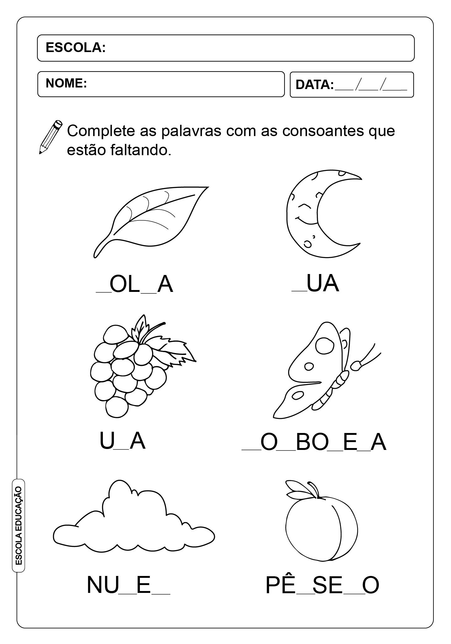 ATIVIDADES DE COMPLETAR PALAVRAS 08 – CONSOANTES