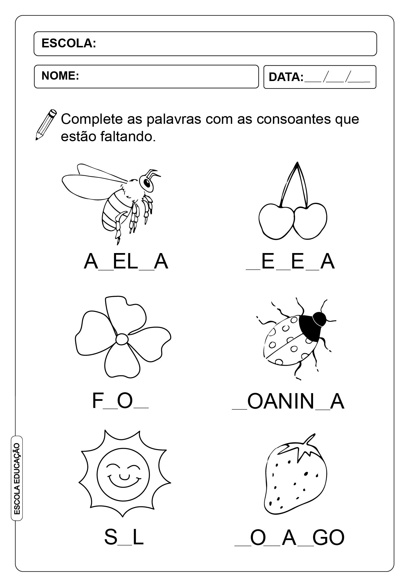 Atividades com consoantes – 1° ano – Atividade de Alfabetização