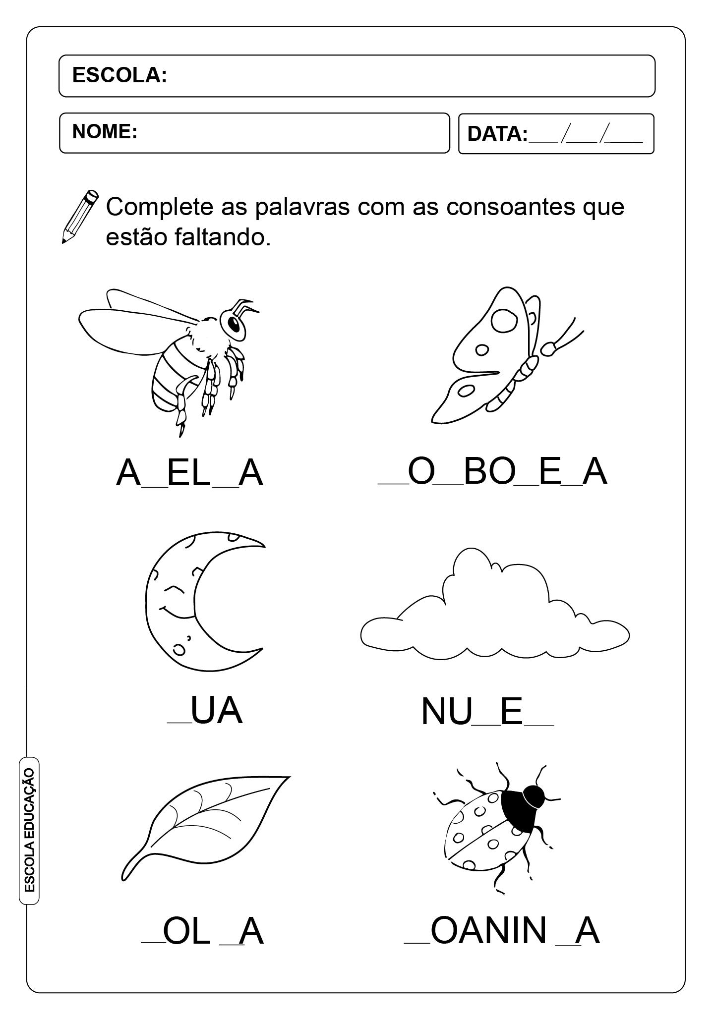 ATIVIDADES DE COMPLETAR PALAVRAS 10 – CONSOANTES