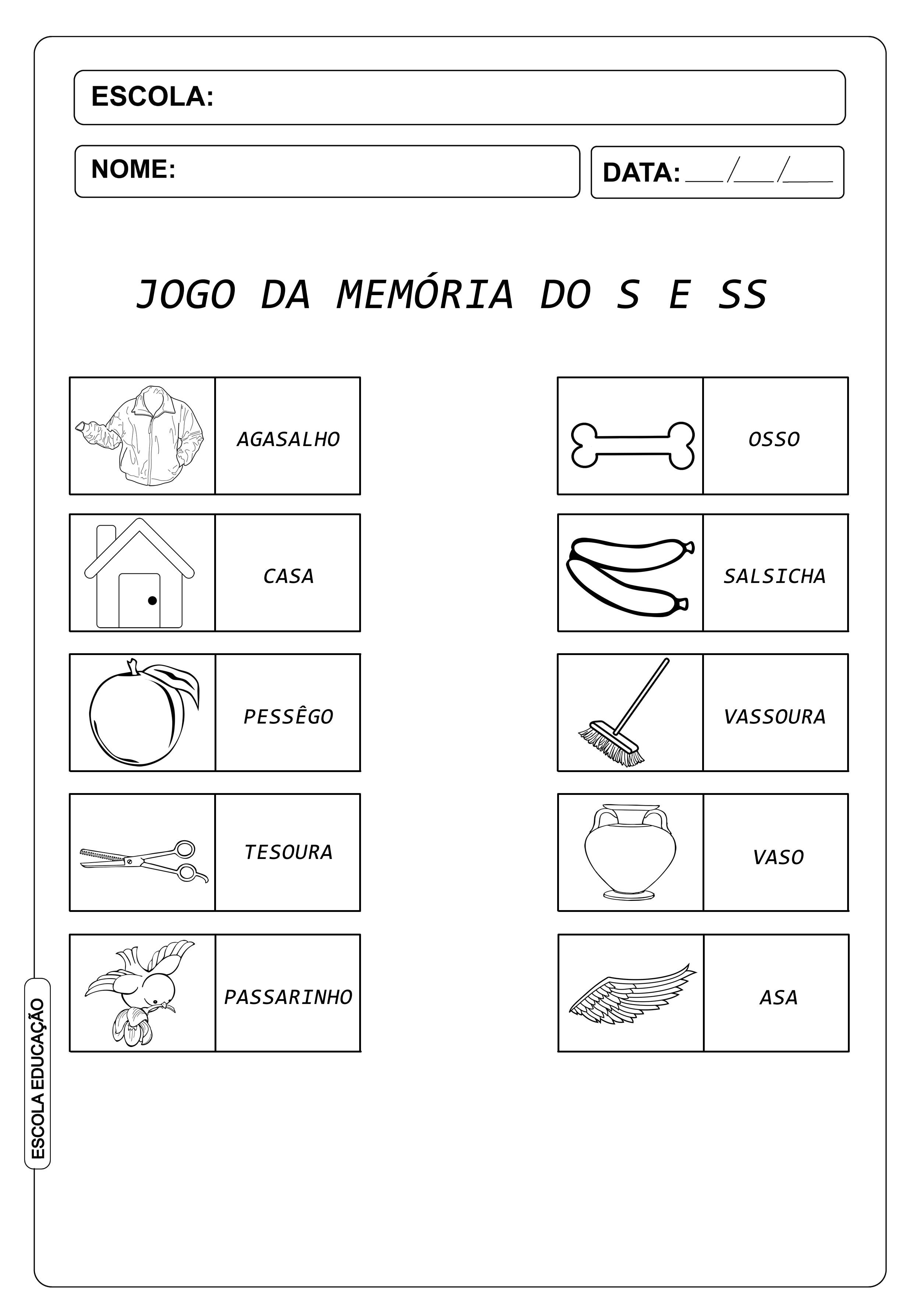 Atividades com S e SS – Encontre a palavra correta e seu respectivo desenho através do jogo da memória