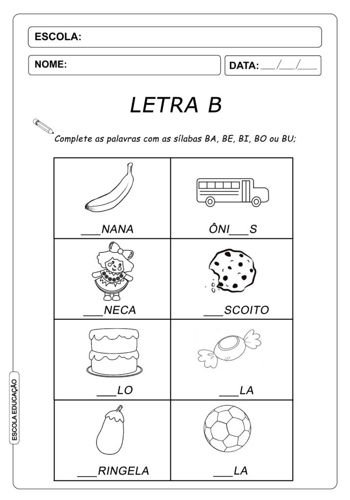 Atividade de Alfabetização Famílias Silábicas - Complete com a Letra
