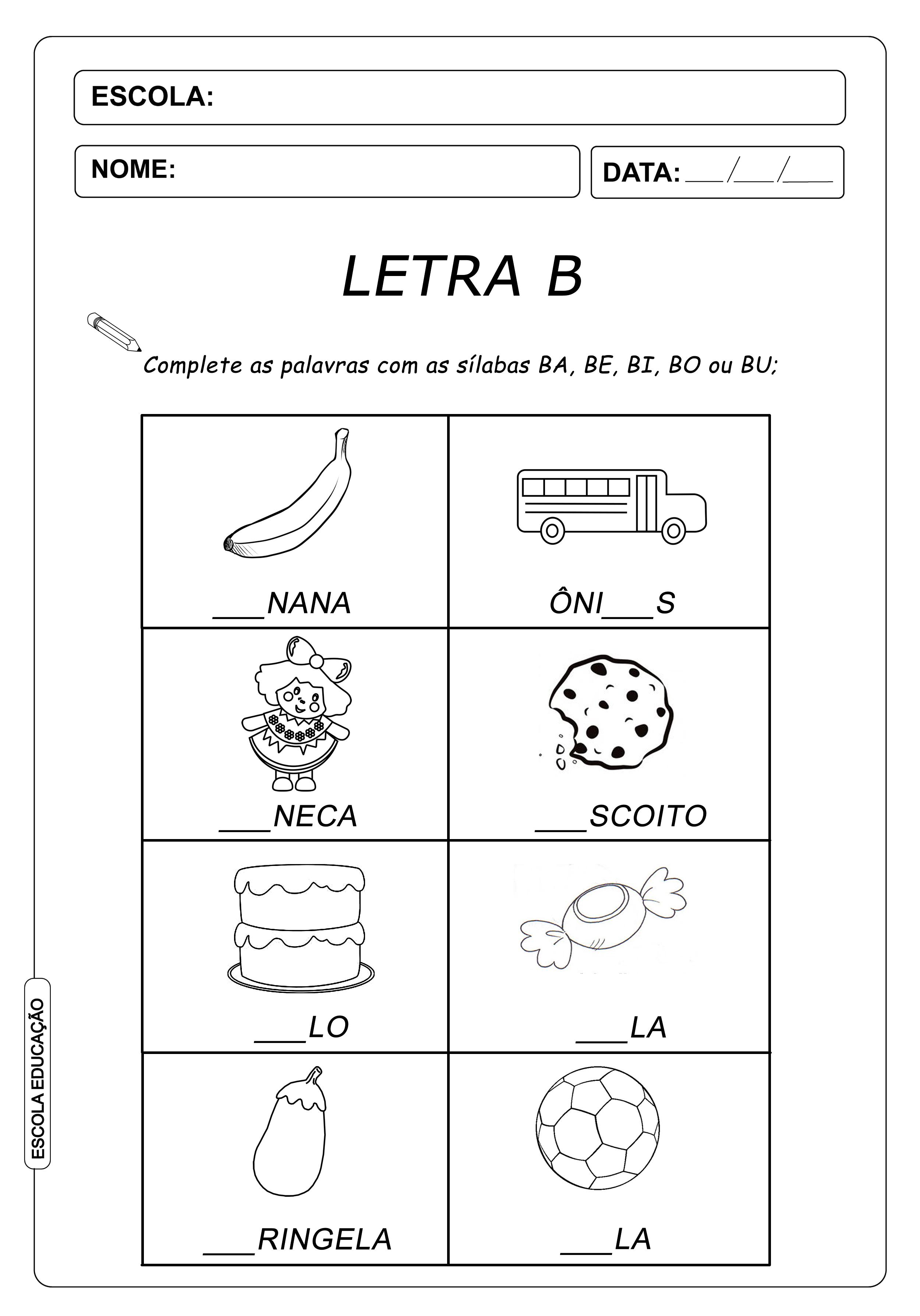 Atividade de Alfabetização Famílias Silábicas – Complete com a Letra