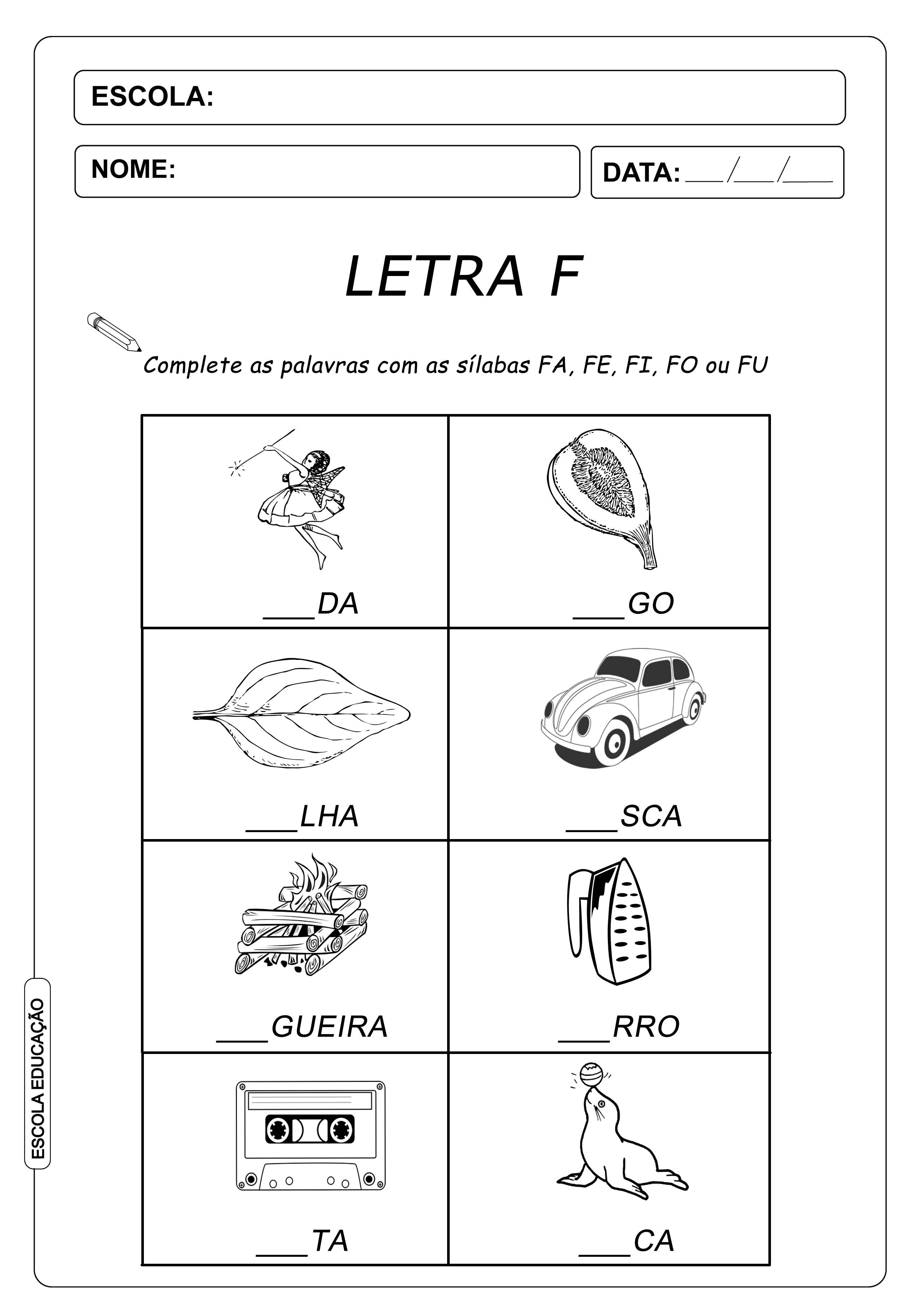 Atividade de Alfabetização Famílias Silábicas – Letra F