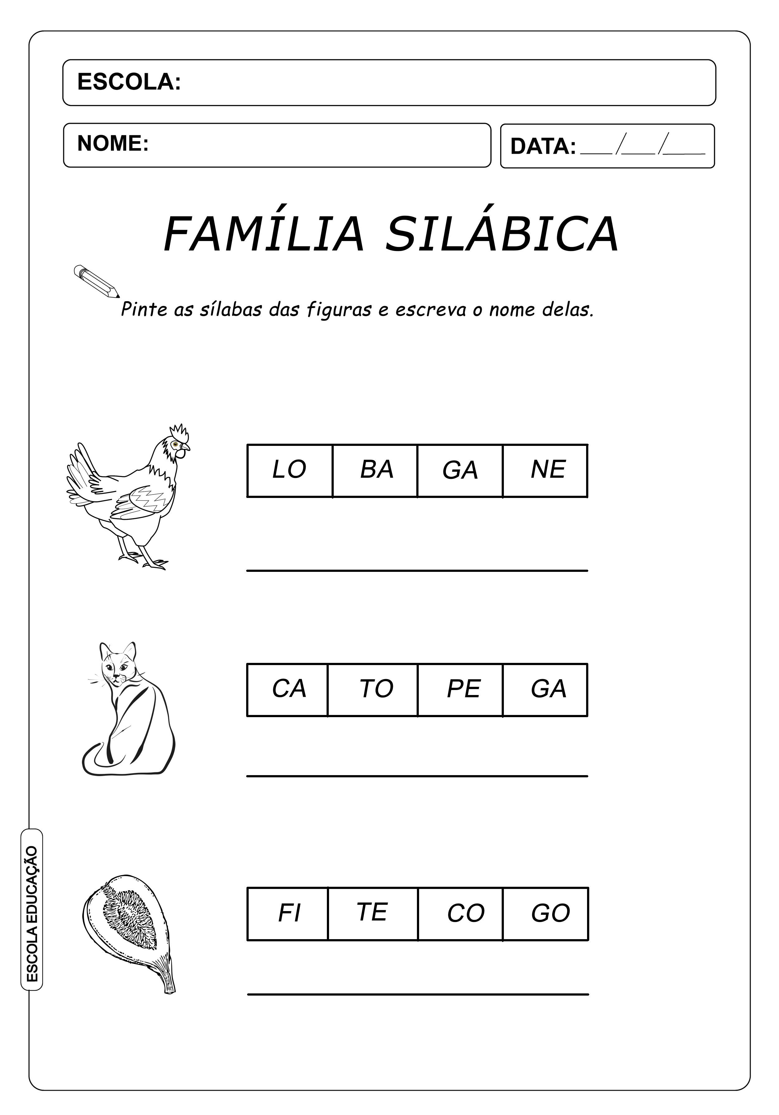Atividade de Alfabetização Famílias Silábicas – Letra G