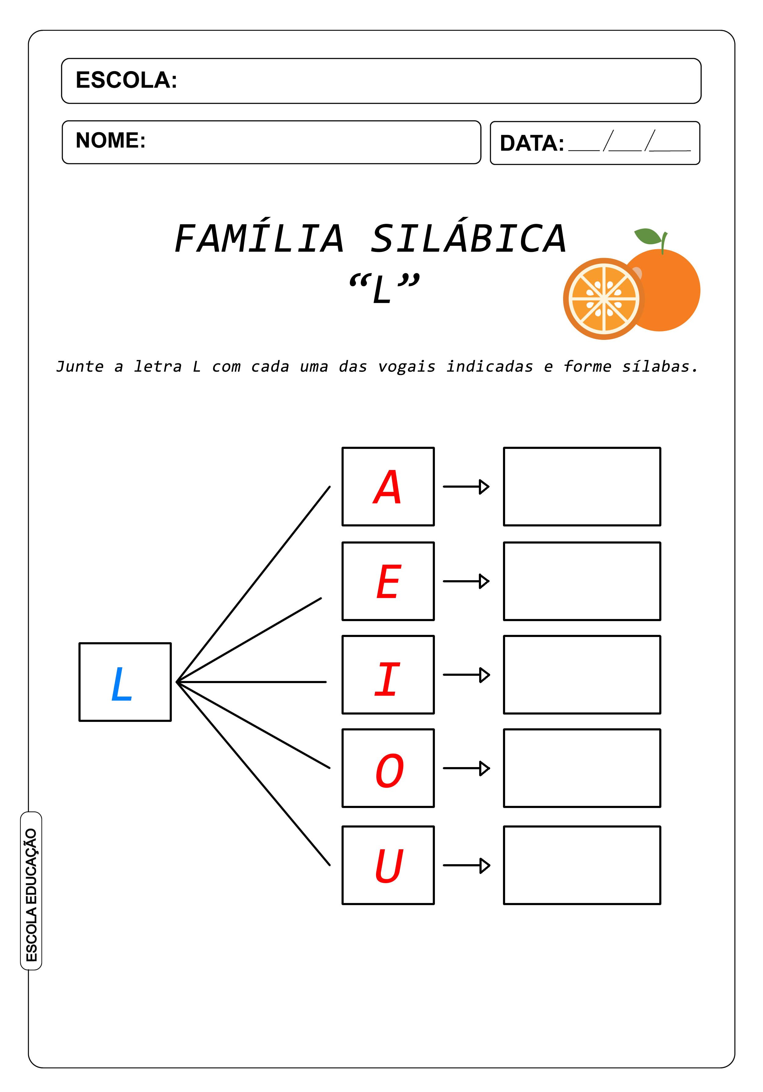 Atividade de Alfabetização Famílias Silábicas – Letra L