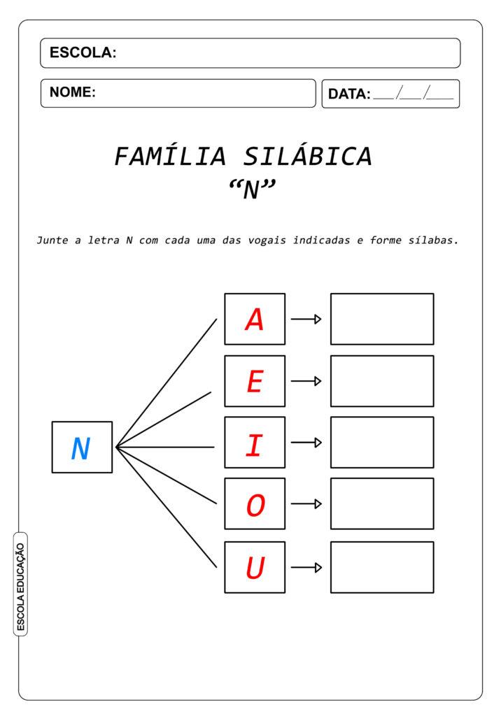 Atividade de Alfabetização Famílias Silábicas - Letra N