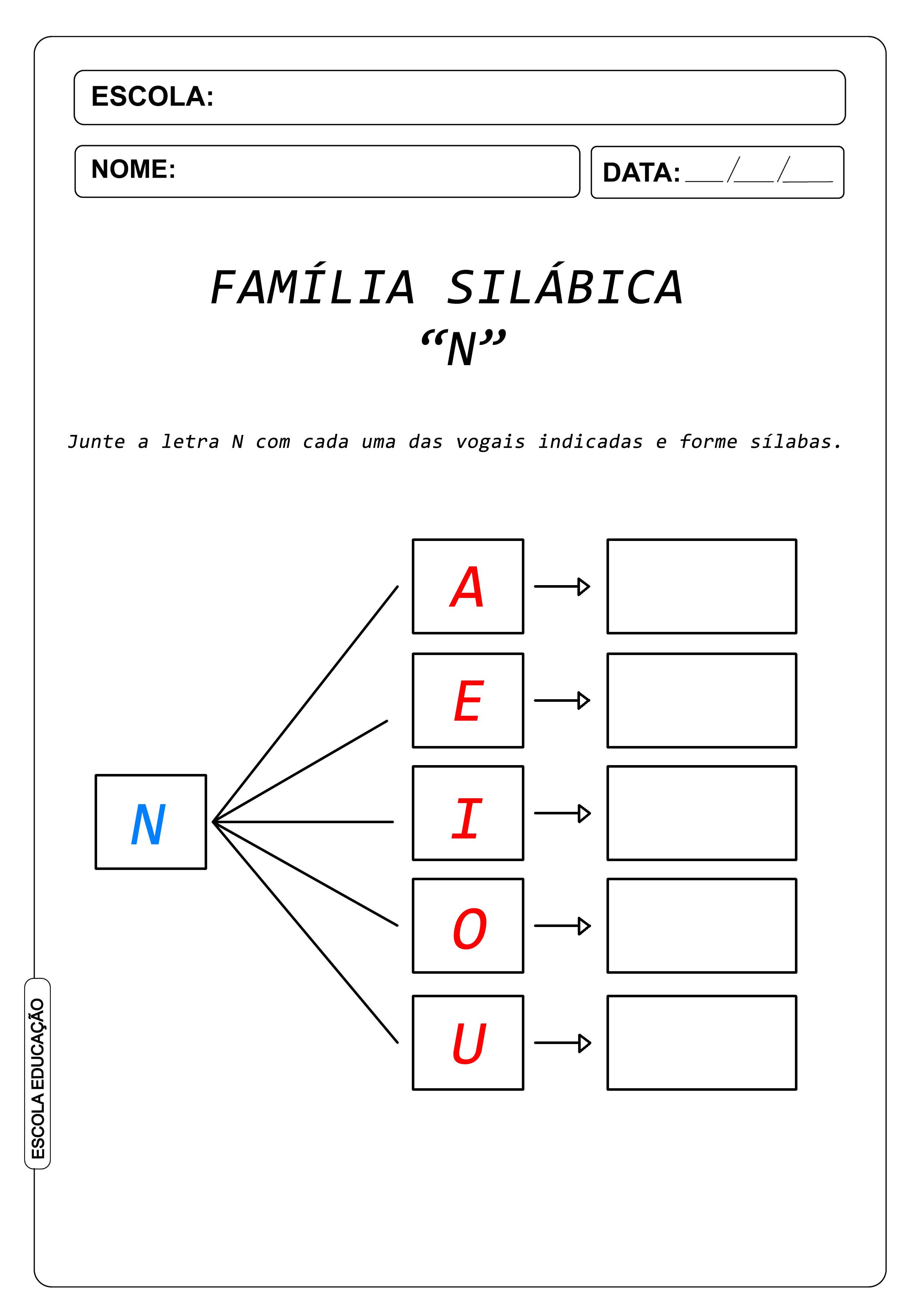 Atividade de Alfabetização Famílias Silábicas – Letra N