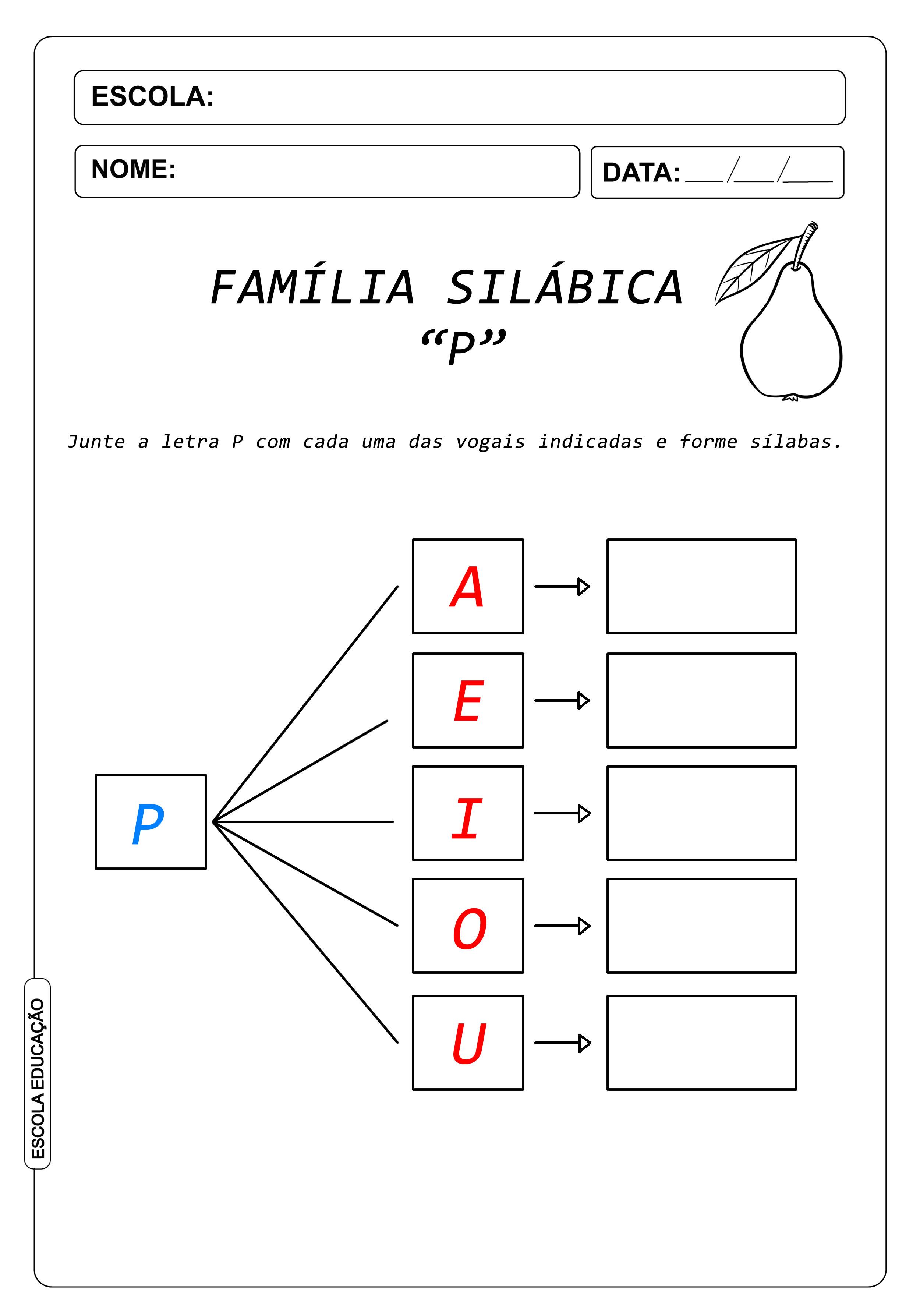 Atividade de Alfabetização Famílias Silábicas – Letra P