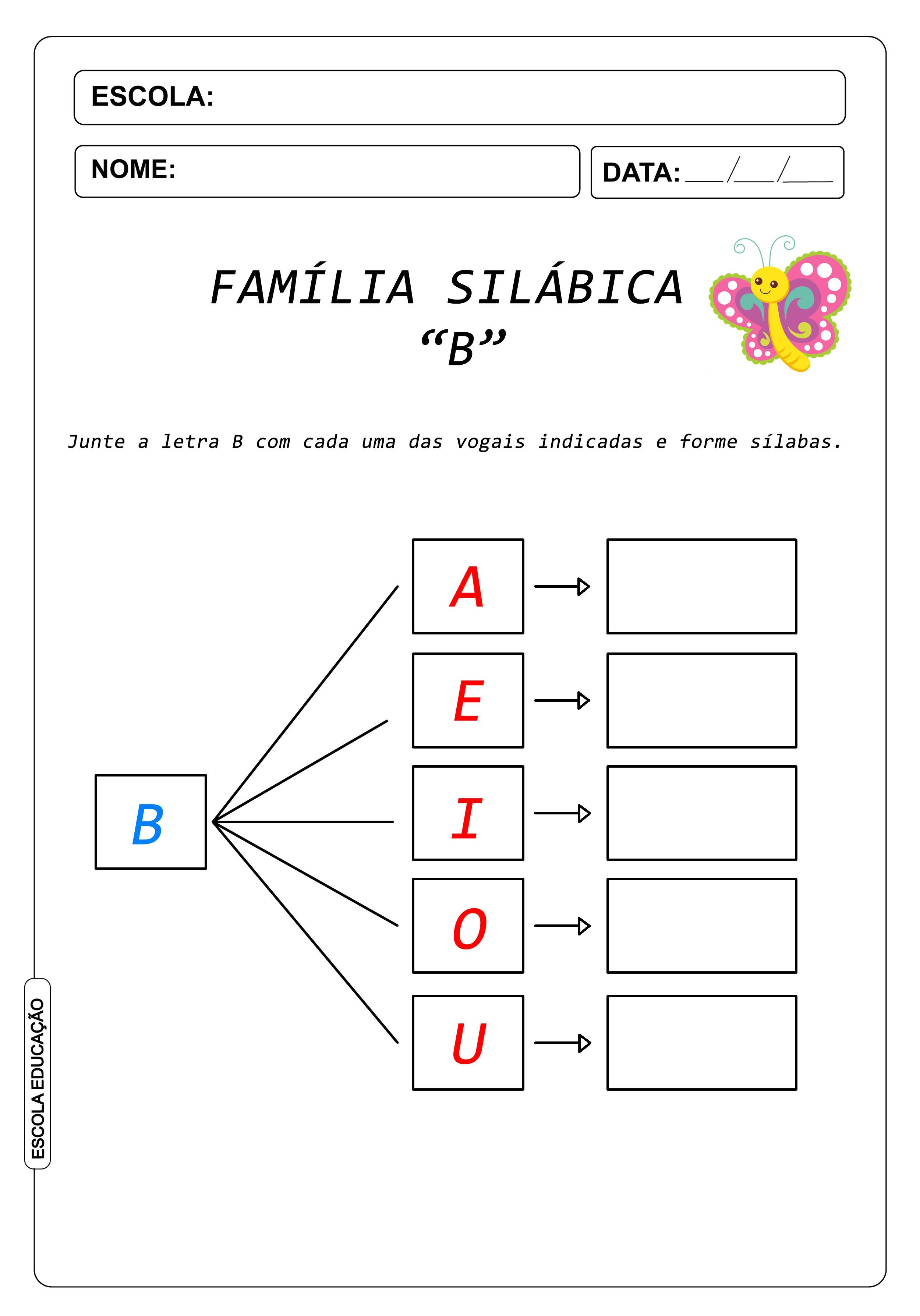 Atividade de Alfabetização Famílias Silábicas – Letra B